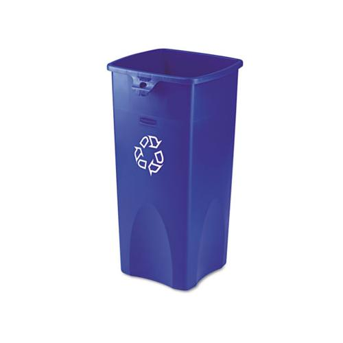 Recycled Untouchable Square Recycling Container, Plastic, 23 Gal, Blue