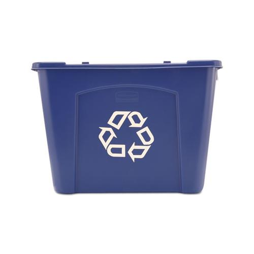 Stacking Recycle Bin, Rectangular, Polyethylene, 14 Gal, Blue
