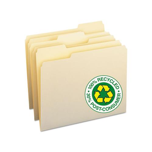 100% Recycled Manila Top Tab File Folders, 1-3-cut Tabs, Letter Size, 100-box
