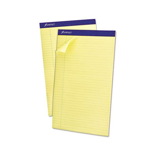 Recycled Writing Pads, Wide-legal Rule, 8.5 X 14, Canary, 50 Sheets, Dozen