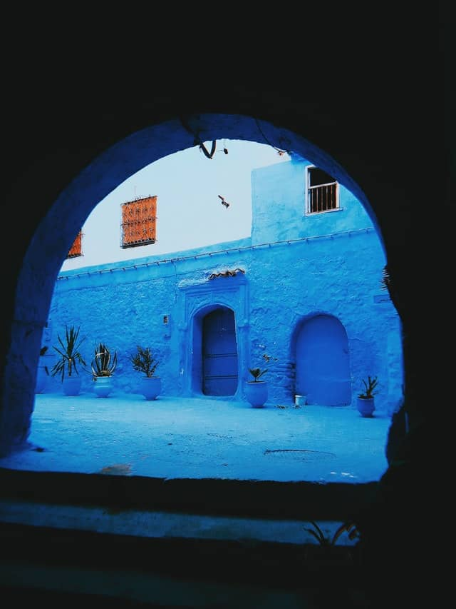 Blue streets of Chefchaouen  - The Wudhu Socks - Socks for Wudu Travel - Khuffain - leather socks
