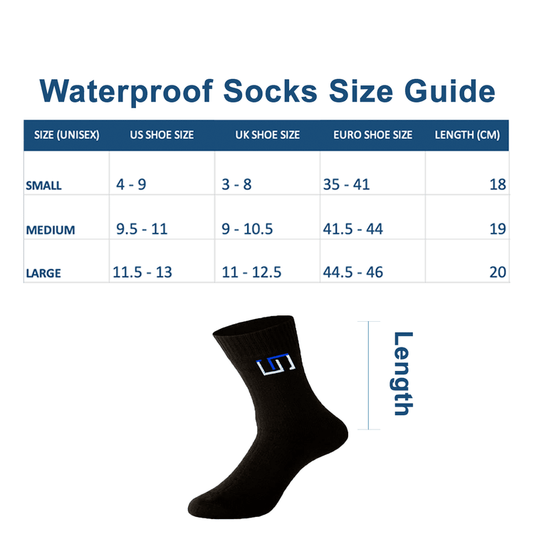size guide for the wudhu socks, size guide for the wudhu socks