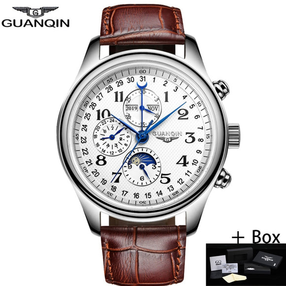 GUANQIN Men Mechanical Watches Leather Luxury Top Brand Waterproof Automatic Wristwatch date Calendar Moon Relogio Masculino