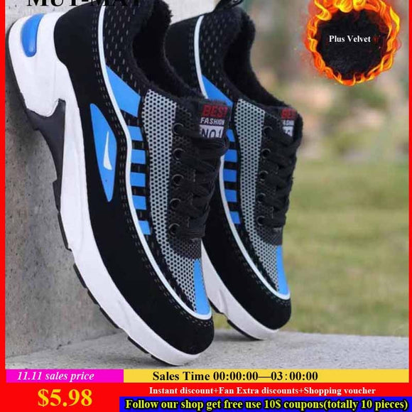 Autumn And Winter Men's Sport Shoes New Year Design Deodorant Casual Plus Velvet Sneakers Man Running Shoes For Young Student