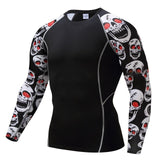Mens fitness long sleeves rashguard t-shirt men bodybuilding skin tight thermal compression shirts mma crossfit workout top gear