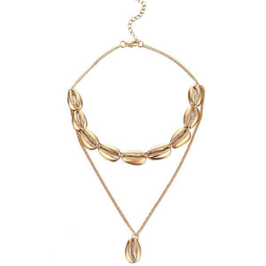 KISSWIFE Multilayer Shell Trendy Necklace for Women Gold Color Long Chain Seashell Ocean Beach Boho Pendant Necklaces Jewelry