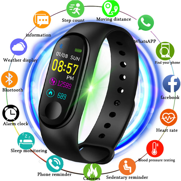 2019 New smart sports watch Women Smart Watch Men Heart Rate Blood Pressure Monitor Fitness Tracker Pedometer Watch+band