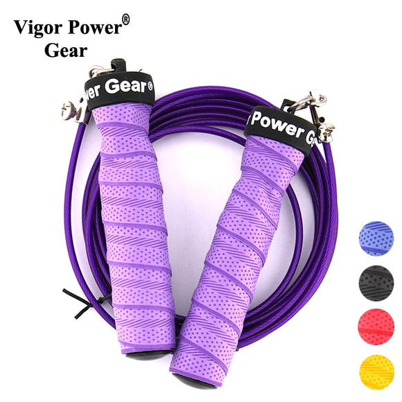vigor power gear high quality adjustable cable crossfit skip sweat non-slip weighted jump rope speed skipping rope