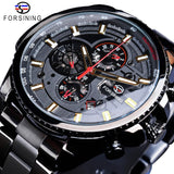 Forsining 2019 Classic Black Clock Steampunk Series Complete Calendar Men's Sport Mechanical Automatic Watches Top Brand Luxury