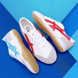 USHINE EU34-44 Quality Red Blue Canvas Warrior Classic Retro Table Tennis Shoes Fitness KungFu TaiChi Shoes For Man Women