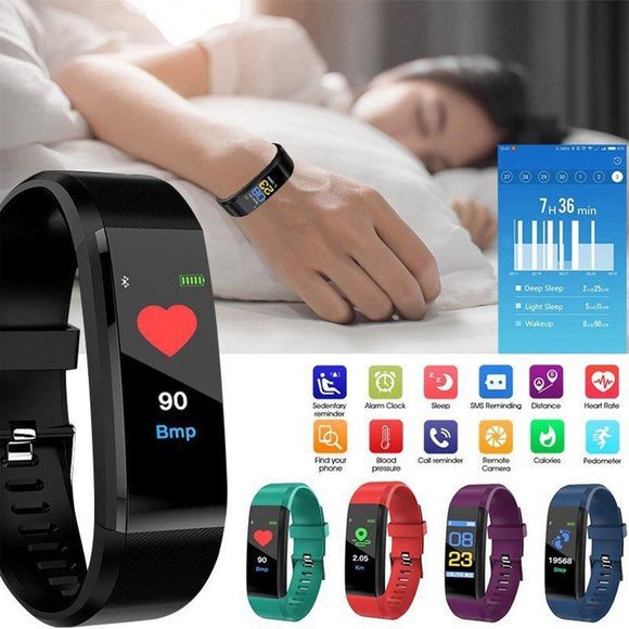 115plus Smart Watch Heart Rate Monitor Blood Pressure Fitness Tracker Smartwatch Sport Watch for ios android + BOX Men Women