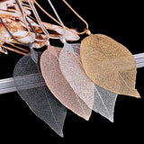 2018 Sweater Coat Necklaces Ladies Girls Special Leaves Leaf sweater Pendant Necklace Long Chain Jewelry for Womens bijou Gift