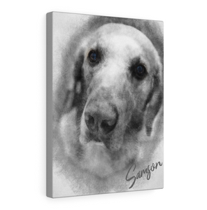 Custom Pet Pencil Sketch Portrait From Photo, Pet Portrait Framed Canvas, Gift for Dog Cat lovers, Pet Memorial Gift, Gift For Dad
