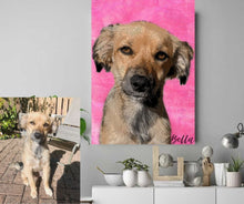 Load image into Gallery viewer, Custom Canvas Wall Art Featuring Your Pet (Framed Ready To Hang)