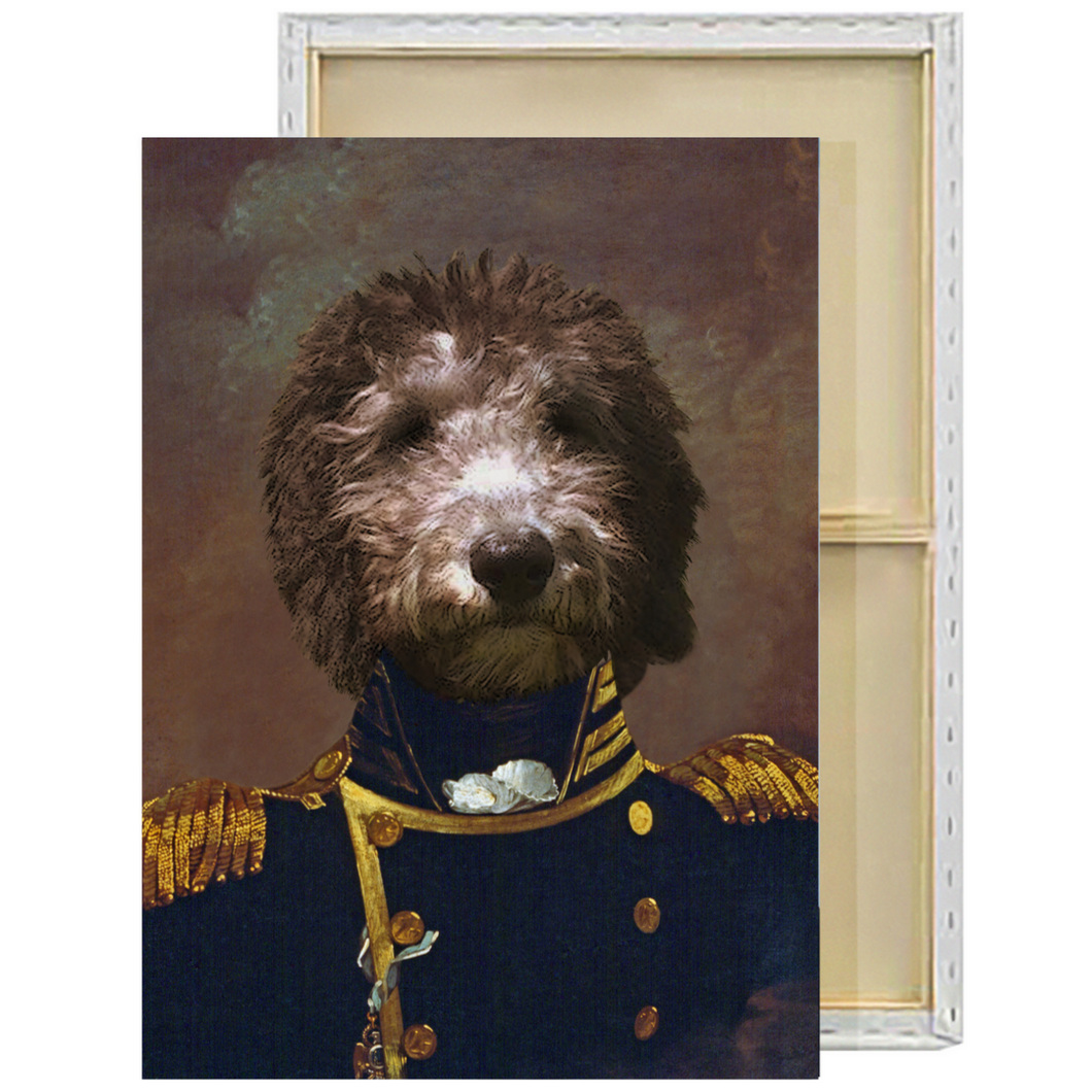 The Admiral | Custom Renaissance Pet Portrait Framed Canvas Painting