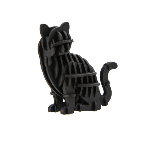 JIGZLE 3D Paper Puzzle: Black Cat - Laser Cut Miniature Animals