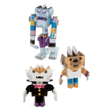 PIPEROID characters: Dracky & Wolffy & Franky - paper craft robot kit (3-in-1 package)