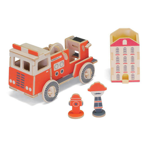 PLAY-DECO Work Vehicles - Fire Truck Tape Dispenser & Container