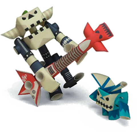 PIPEROID characters: Guyzer & Bean - paper craft robot kit (2-in-1 package)
