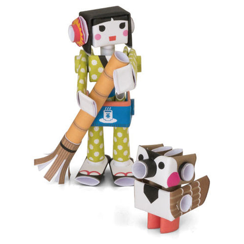 PIPEROID characters: Hana & Suzu - paper craft robot kit (2-in-1 package)