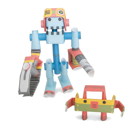 PIPEROID characters: Dr. Joe & Boxy - paper craft robot kit (2-in-1 package)