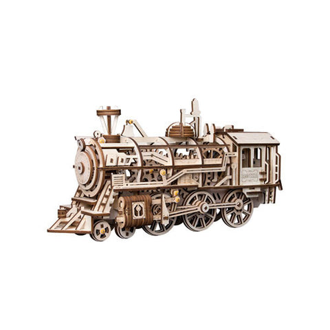 ROKR Locomotive - Wooden Wind-up Gear Puzzle Craft Kit