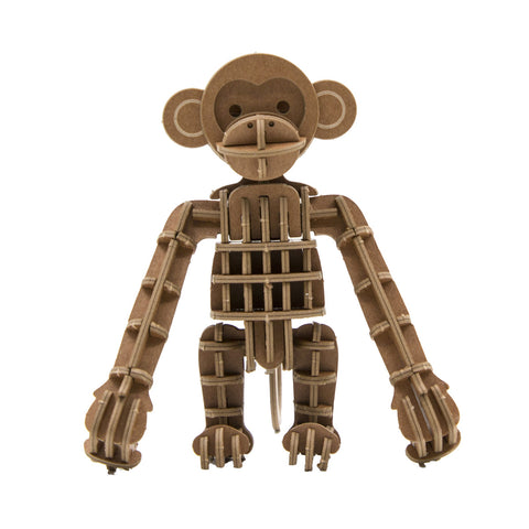 JIGZLE 3D Paper Puzzle: Monkey - Laser Cut Miniature Animals