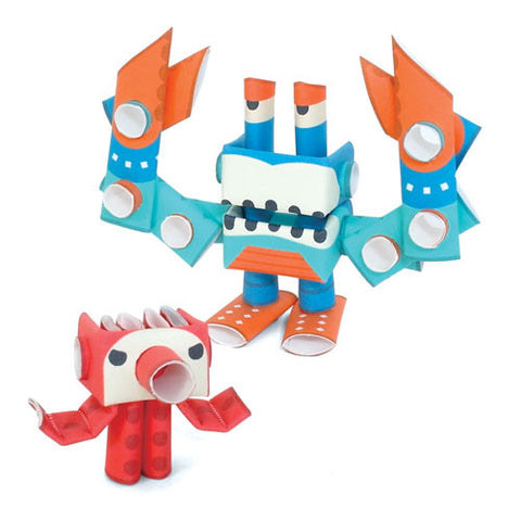 PIPEROID characters: Octo & Deca - paper craft robot kit (2-in-1 package)