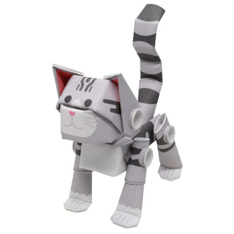 PIPEROID animals -  Cat Series: Silver Tabby - paper craft kit from Japan