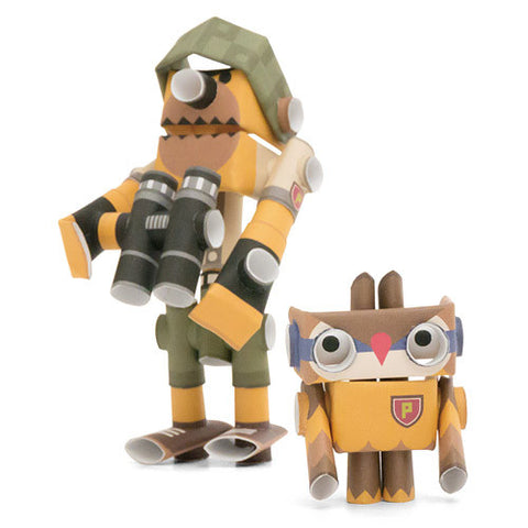 PIPEROID characters: Teddy & Hoot - paper craft robot kit (2-in-1 package)
