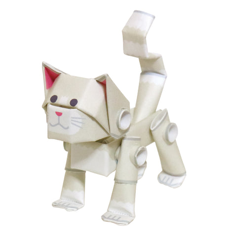 PIPEROID animals -  Cat Series: White Cat - paper craft kit from Japan
