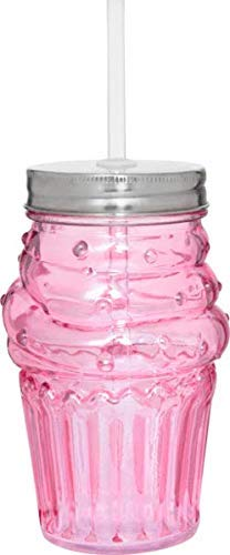 Glass Cupcake Tumbler with Straw
