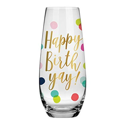 Happy Birth-yay Stemless Champagne Flute