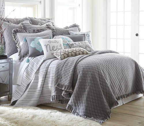 Weather-Washed Grey Quilt Set