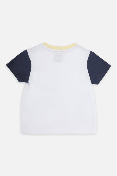 Indie Colour Block Tee - White