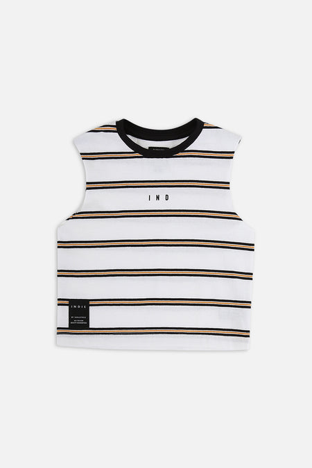 Indie Stripe Muscle Tee - White