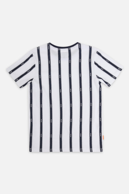 Roler Stripe Text Tee - White