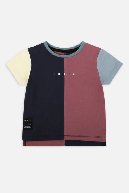 Indie Vertical Panel Tee - Navy Burg