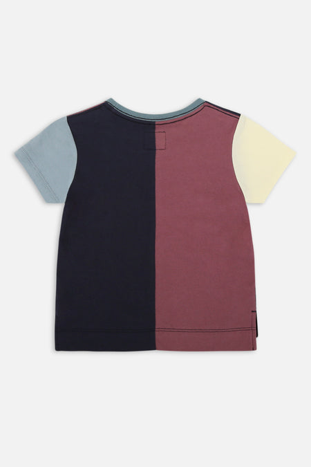 Indie Vertical Panel Tee - Navy Burgandy