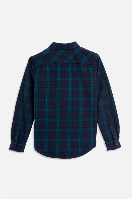 Check Shacket Shirt - Navy