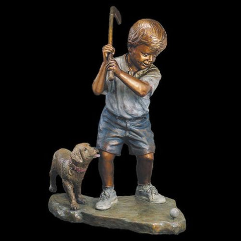 Artist Marianne Caroselli Bronze Sculpture boy, girl, and dog sculptor