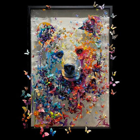 Original 2Wild Painting by Artists Barak and Miri Rozenvain of Butterfly Bear on Plexiglass at Raitman Art Galleries Vail and Breckenridge, Colorado