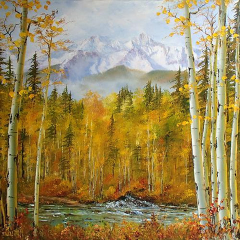 Katherine McNeill Original Oil Mountain and Aspen Paintings Available at Raitman Art Galleries in Breckenridge and Vail Colorado