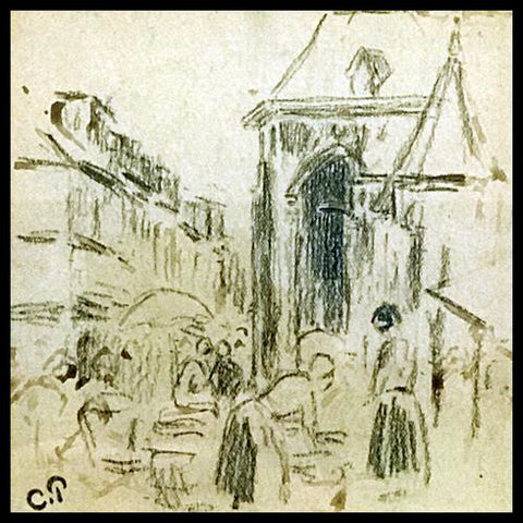 Original Sketch on Paper by French Impressionist Painter Camille Pissarro