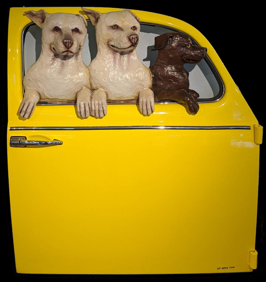 2 Yellow Labs and a Chocolate Lab in a Yellow VW Door dd larue dog door