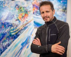 Skiing Artist David V. Gonzales in Breckenridge Art Gallery