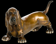 Editith Harvey Dog bronze sculpture by artist Marty Goldstein