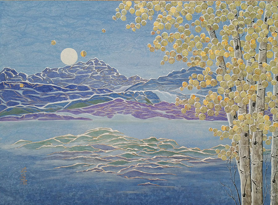 Full Moon On The First Snow original mountain landscape painting by artist Kate McCavitt