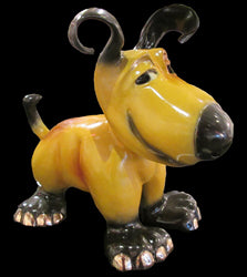 little charlie yellow bronze dog sculpture by artist marty goldstein