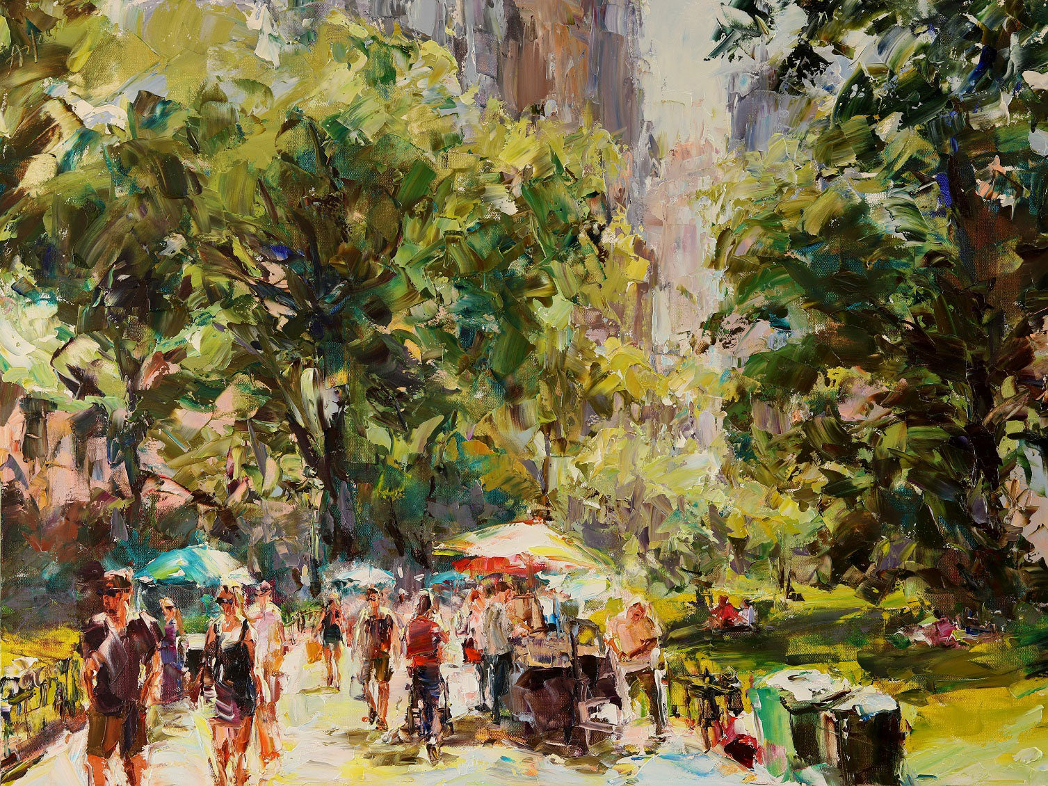 Summer in Central Park original oil painting by artist Lyudmila Agrich